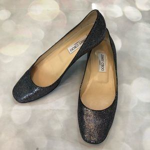 Jimmy Choo Finlay Glittered Ballet Flat Anthracite